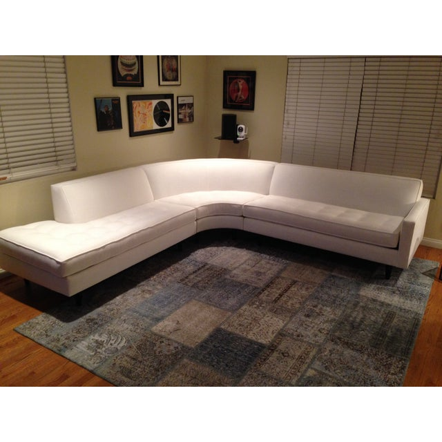 Image of Mid-Century Style White Sectional with Chaise