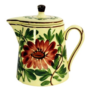 Schramberg Majolica Handpainted Coffee Pot Red Yellow Floral