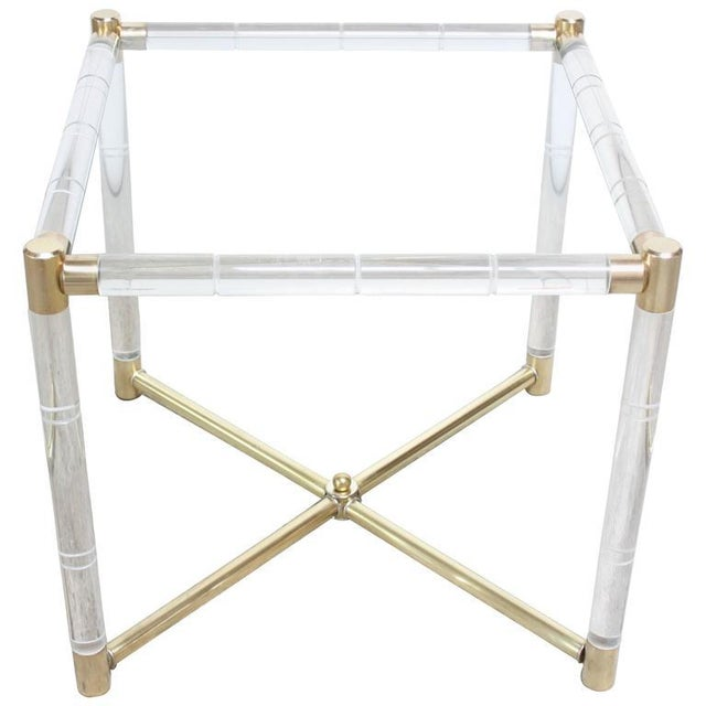 Image of Charles Hollis Jones Lucite Faux-Bamboo and Brass Side Table