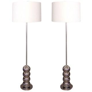 Pair of Mid-20th Century Chrome Floor Lamps