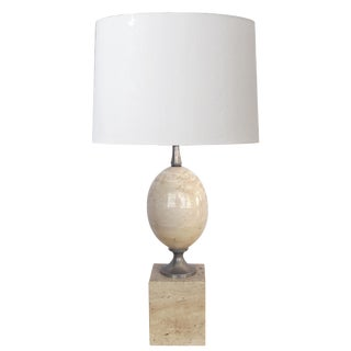 Good French 1970s Pierre Barbier Polished Travertine and Chrome Lamp