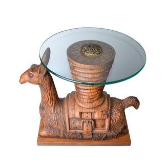 Wooden Llama Glass Table