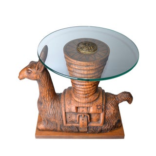Wooden Llama Glass Table