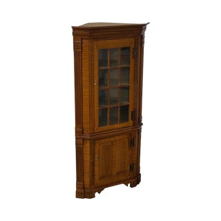 Hand Crafted 18th Century Style Tiger Maple Corner Cabinet