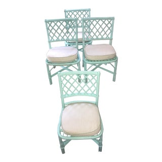 Mint Green Rattan Chairs - Set of 4
