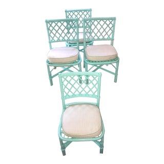 Mint Green Rattan Chairs - Set of 4