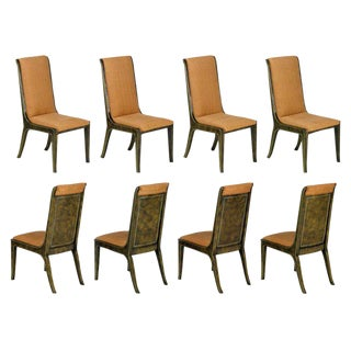 Eight Mastercraft Amboyna Burl & Brass Dining Chairs