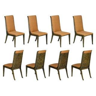 Eight Mastercraft Amboyna Burl & Brass Dining Chairs