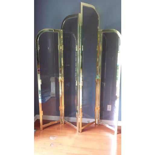 Brass & Smoked Glass Room Divider - Image 5 of 8