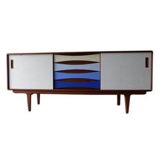 Mid Century Styled Shades of Blue Media Credenza