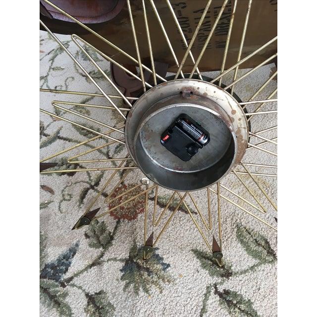 Mid-Century Modern Starburst Metal & Walnut Clock - Image 5 of 5