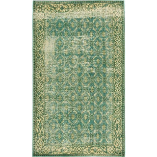 "Green Vintage Turkish Overdyed Rug - 5'1"" X 8'8"""