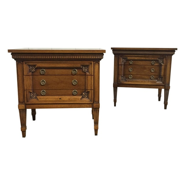 Vintage English Inspired Nightstand - Pair - Image 1 of 6