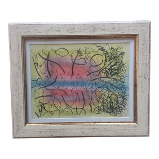 1970's Vintage Charcoal & Pastel Abstract Painting