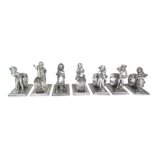 """Vintage Silver """"Children at Play"""" Collection Napkin Rings by Lance - Set of 7"""
