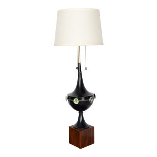 Mid-Century Modern Sculptural Table Lamp with Enamel Decorations