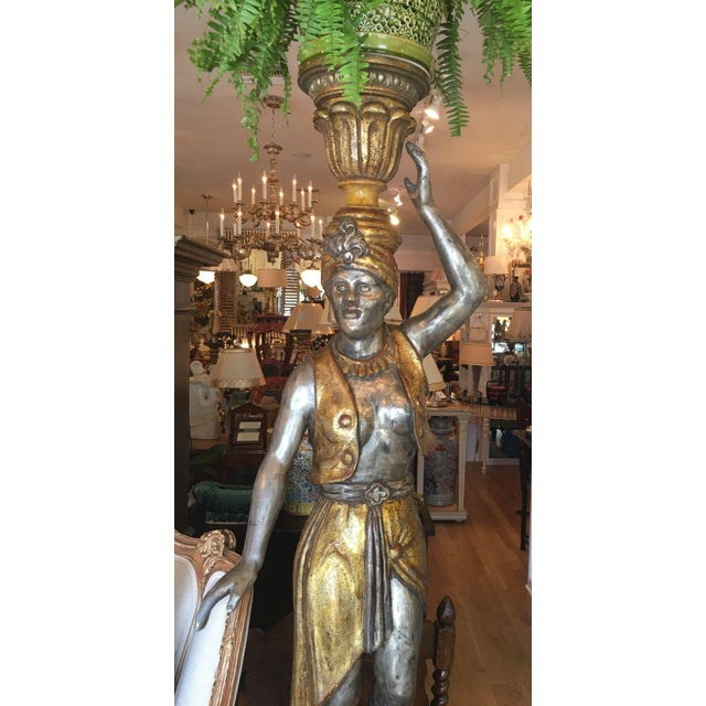 Pair of Huge Venetian Gilt-Wood Designer Blackamoor Plant Stands / Lamps - Image 5 of 6