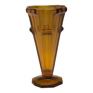 Amber Colour Pressed Glass Conical Vase, England c.1950