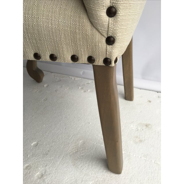 Image of Traditional Ivory Linen Side Chairs - A Pair