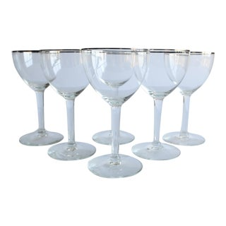 Silver Rim Wine Glasses, Set of 6