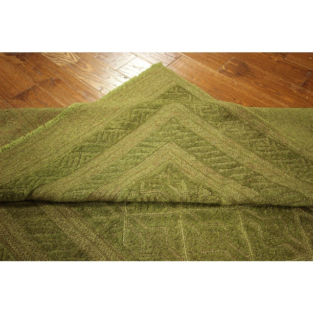 "Overdyed Green Handmade Rug - 4'10"" x 6' - Image 7 of 8"