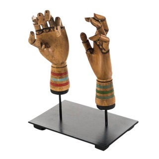 Antique Articulated Carved Wood Hands - A Pair