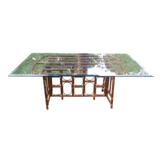 Vintage Rattan Table with 1/2 Inch Beveled Glass