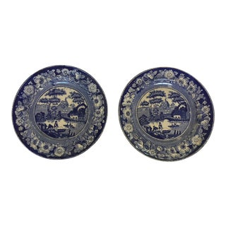 1850 Antique Unattributed Maker Wild Rose Plates - a Pair