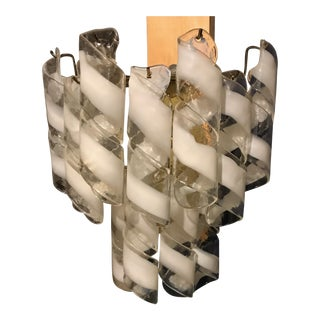"Pair of Vintage Mezzega Brass and White Spiral Murano Glass 2 Tiered ""Torciglione"" Sconces"