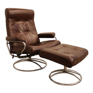 Plycraft Style Mid-Century Danish Modern Leather Chrome Lounge Chair & Ottoman