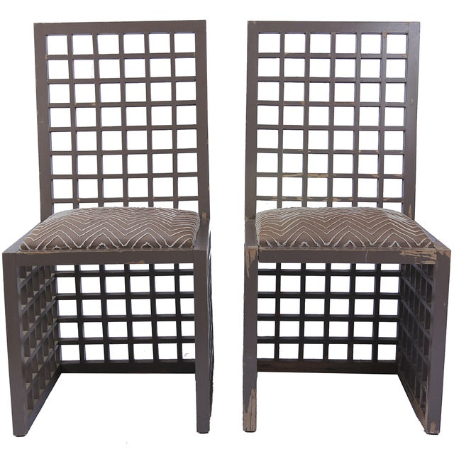 Image of Vintage Lattice Chairs - A Pair