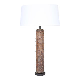 Custom Table Lamp from Antique Print Roller