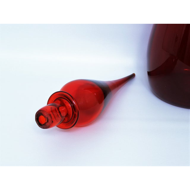 Image of Vintage Italian Murano Red Glass Decanter