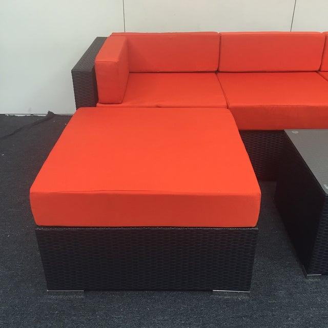 Orange Wicker Patio Set - Image 3 of 10