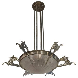 Degue Signed French Art Deco Chandelier with Mythical Horses