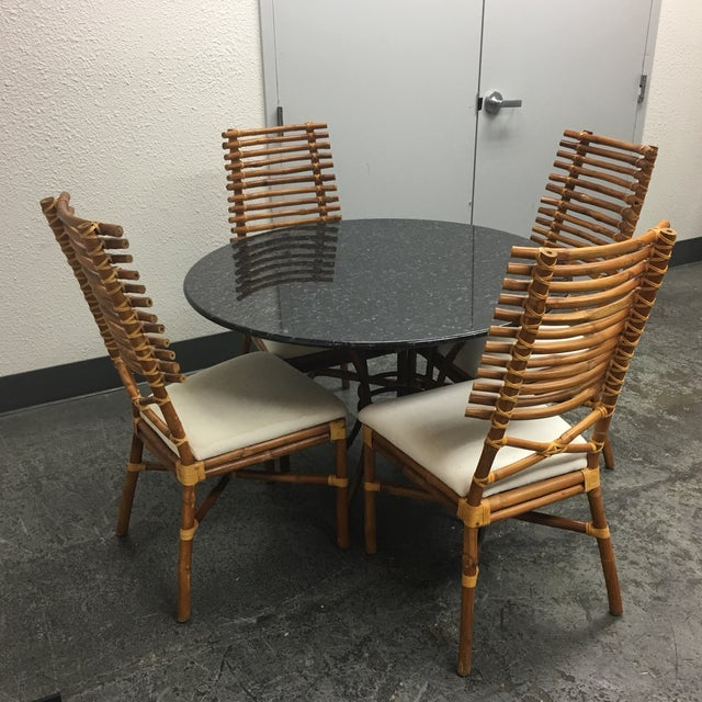 Granite & Rattan Dining Table & Chairs - Image 4 of 9