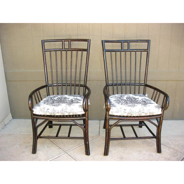 Black French Country Style Bamboo Chairs - Pair - Image 2 of 11