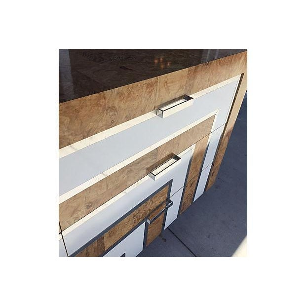 Mid-Century Burl Wood & White Mica Dressers - Pair - Image 8 of 8