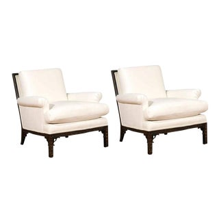 Exquisite Pair of Modern Chippendale Loungers in the Style of David Hicks