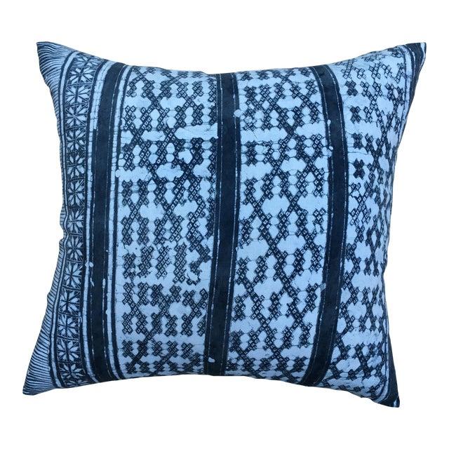 Gray Batik Cotton Tribal Pillow - Image 1 of 7