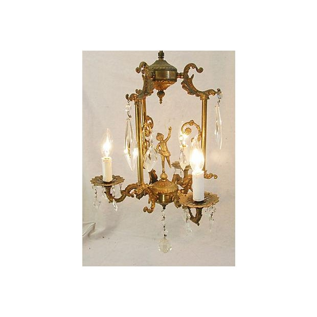 Image of 1950s Crystal 3 Arm Chandelier