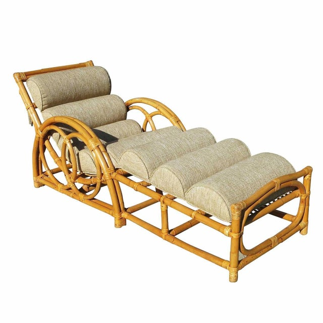 Half moon rattan chaise longue chair chairish for Cane chaise longue