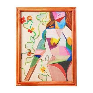 Original Vintage 70's Cubist Portrait Painting