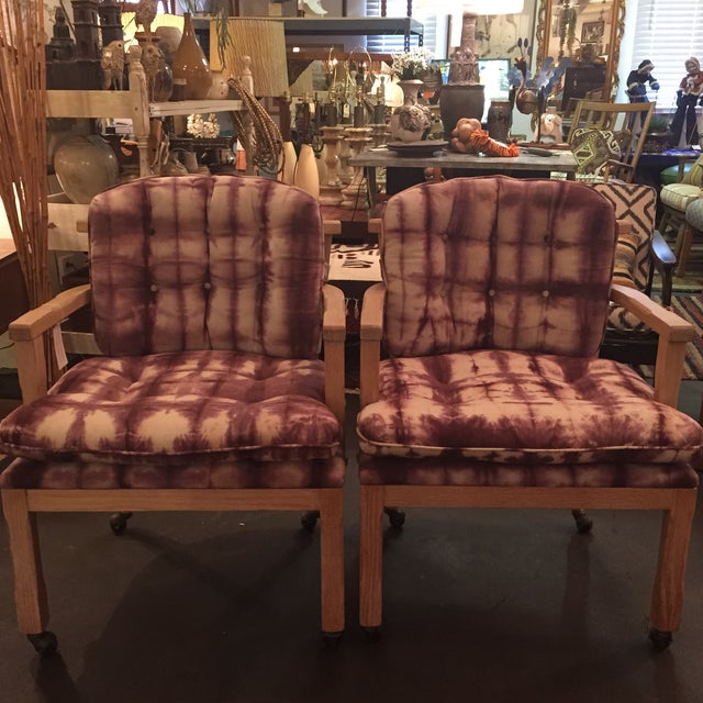 Vintage Lined Wood Armchairs on Casters - A Pair - Image 2 of 10