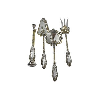 Antique French Sterling & Gold Set 4-Pcs