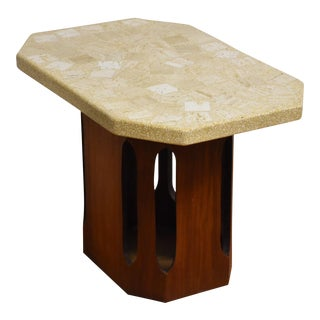 Harvey Probber Walnut Terazzo End Table