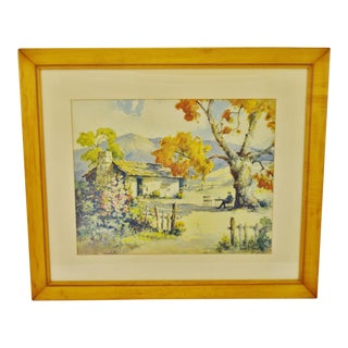 Vintage Framed Print of Mark Twain's Cabin by David F. Schwartz