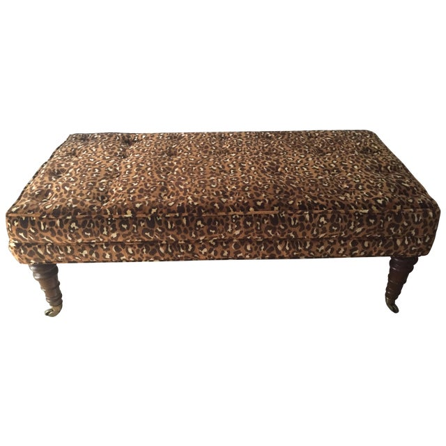 Leopard Upholstered Bench on Brass Casters - Image 1 of 8