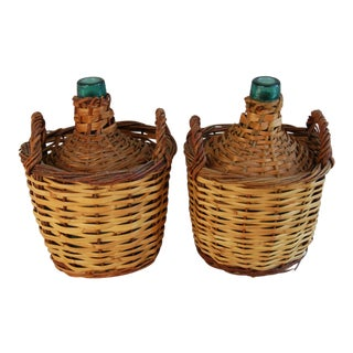 French Wicker Demijohn Wine Bottles - Set of Two