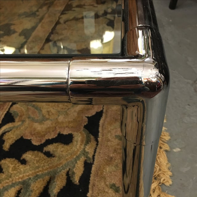 Chrome & Glass Square Coffee Table - Image 5 of 6